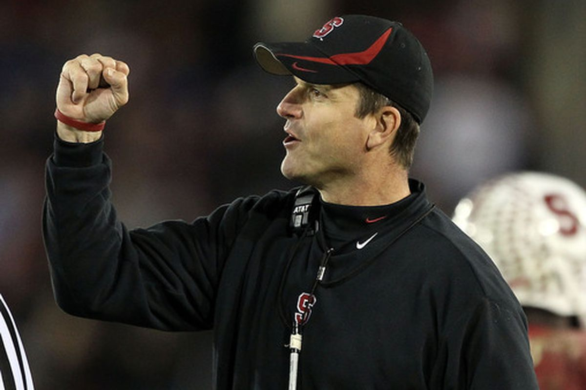 Jim Harbaugh had plenty of reasons to cheer when he was Stanford's coach