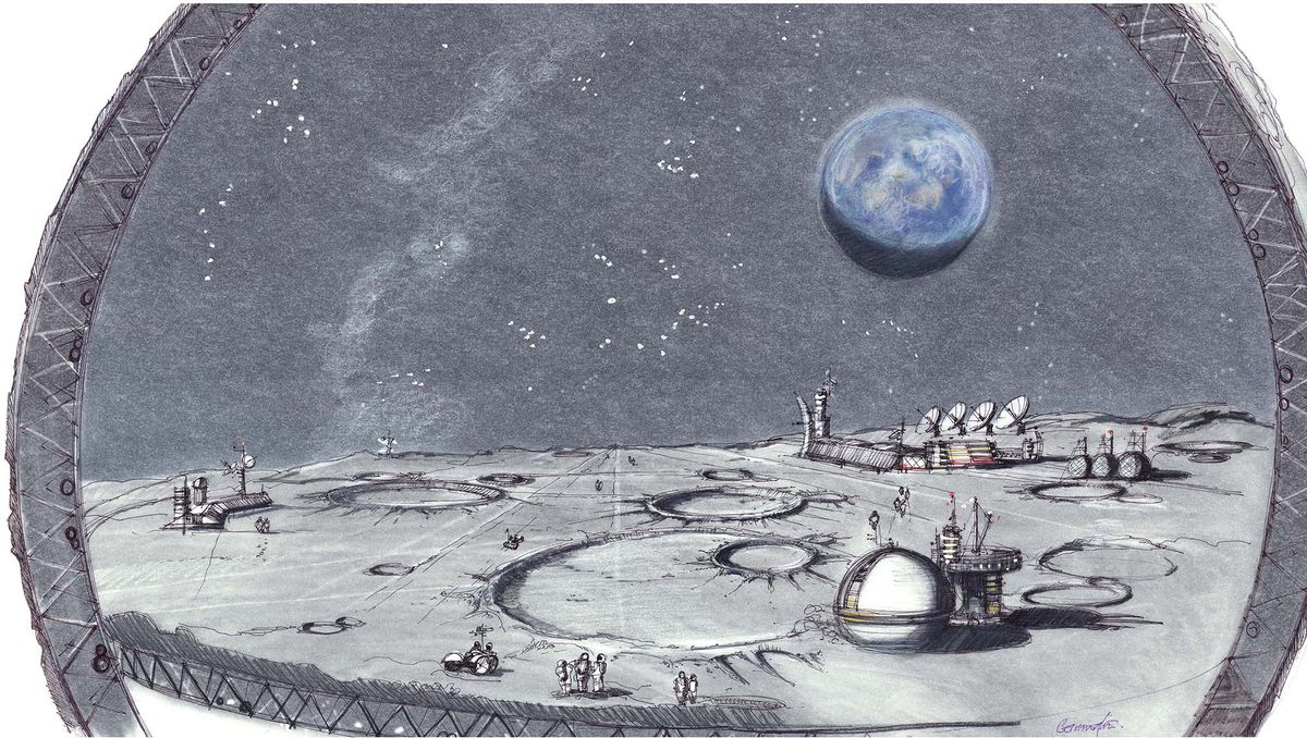 A rendering of the artificial lunar surface at the moon resort.