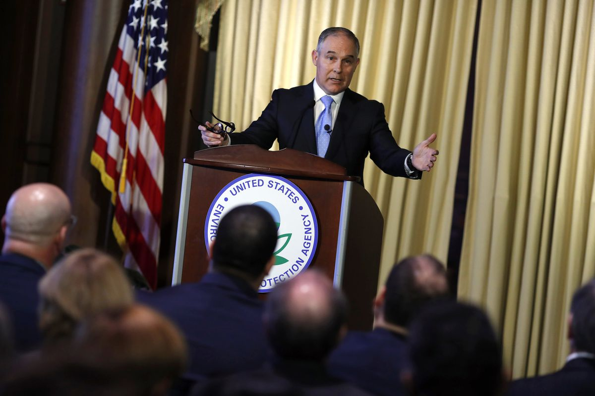 Scott Pruitt Addresses Employees At EPA Headquarters