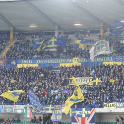 Verona fans shows their support during the Serie A match between Hellas Verona FC and FC Internazionale at Stadio Marc'Antonio Bentegodi on October 30, 2017 in Verona, Italy.