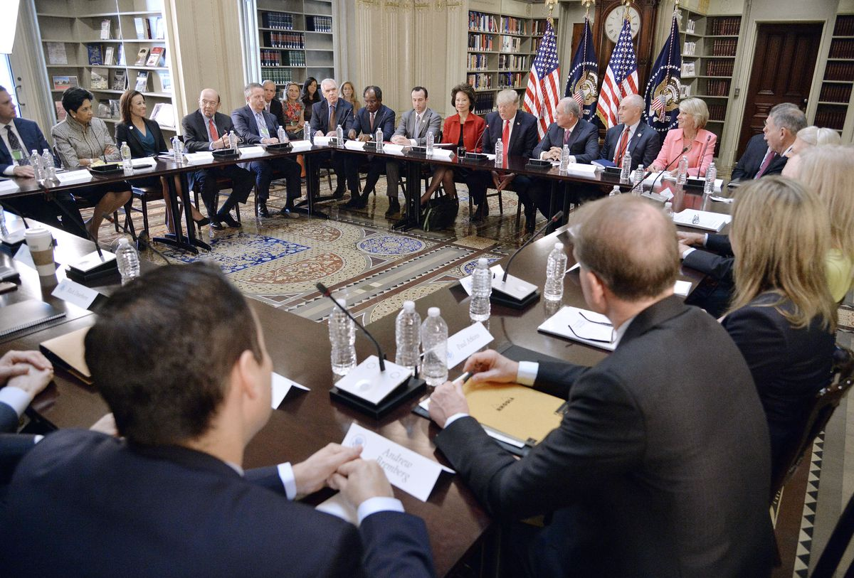 President Donald Trump Leads A Strategic And Policy CEO Discussion