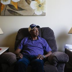 Larry Darden poses for a portrait in his home at the Lowell Apartments in Salt Lake City on Wednesday, June 14, 2017. Darden, who has been in his current apartment for a year and a half, had issues previously with finding affordable housing and suffered from unsafe living conditions.