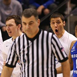 Brigham Young Cougars' bench can't believe the ball as BYU and Gonzaga play in an NCAA basketball game in the Marriott Center in Provo on Saturday, Feb. 24, 2018.