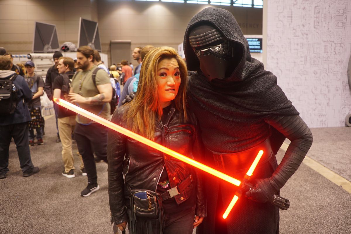 """Ji Suk Yi meets up with """"Kylo Ren"""" at Star Wars Celebration 2019 at Chicago's McCormick Place West on Thursday, April 11, 2019. 