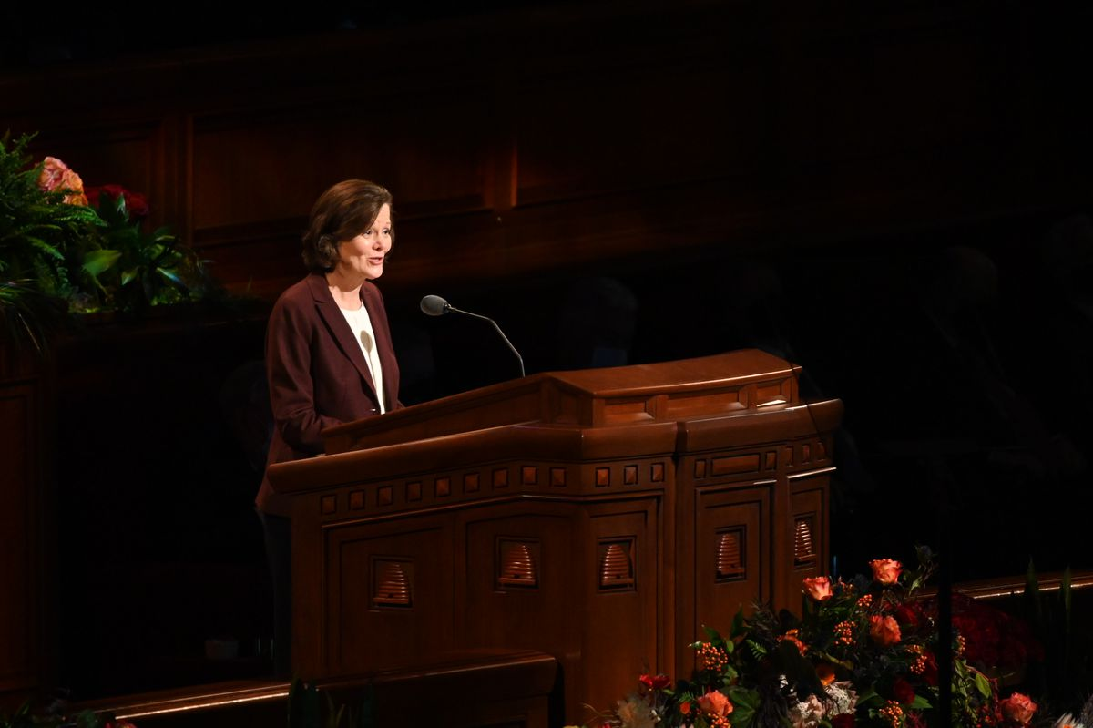 Sister Susan H. Porter, first counselor in the Primary general presidency, speaks during the Saturday afternoon session of the 191st Semiannual General Conference of The Church of Jesus Christ of Latter-day Saints at the Conference Center in Salt Lake City on Oct. 2, 2021.