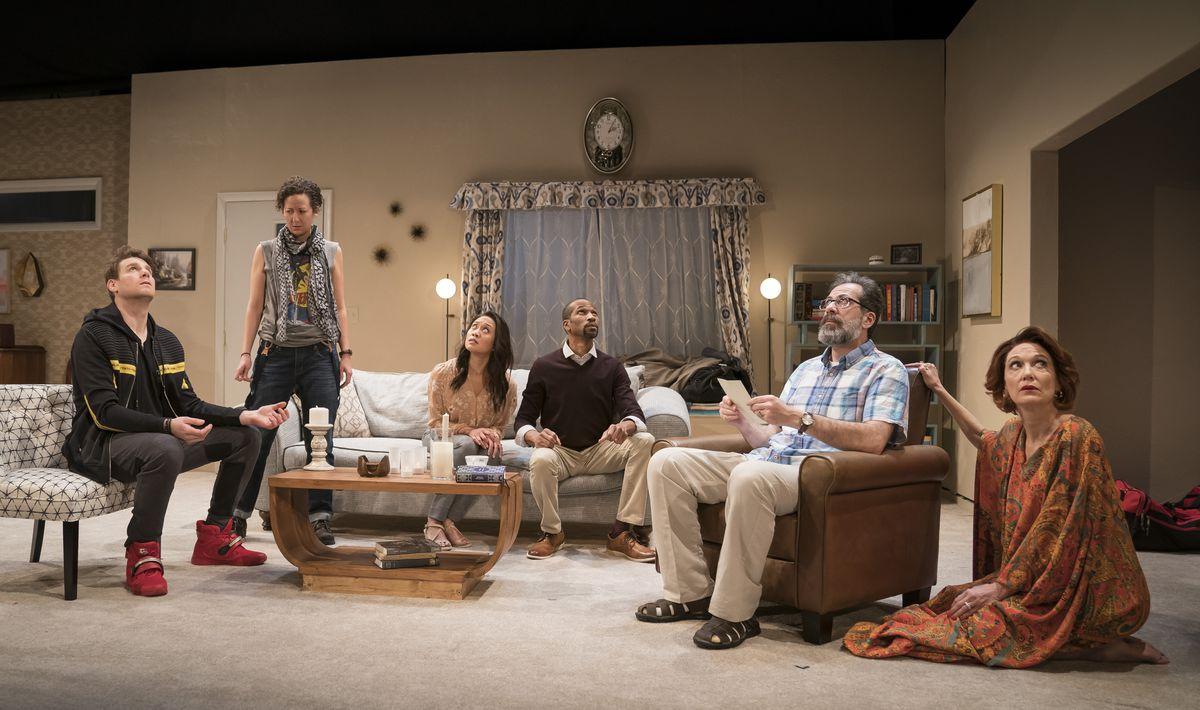 """The cast of """"Acts(s) of God"""" at Lookingglass Theatre.   Liz Lauren"""