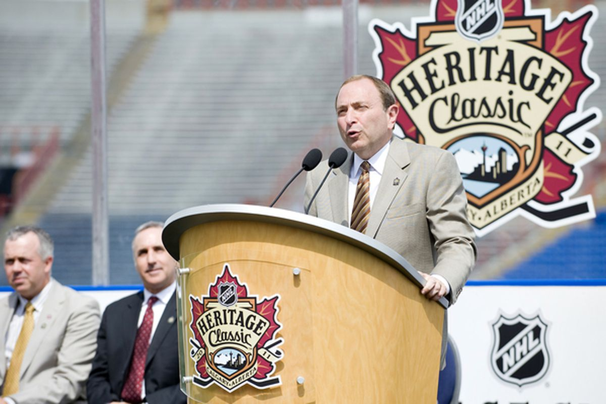 CALGARY AB CANADA - AUGUST 4:  NHL Commissioner Gary Bettman addresses the media at the NHL Heritage Classic Press Conference at McMahon Stadium on August 4 2010 in Calgary Alberta Canada.  (Photo by Dylan Lynch/Getty Images)