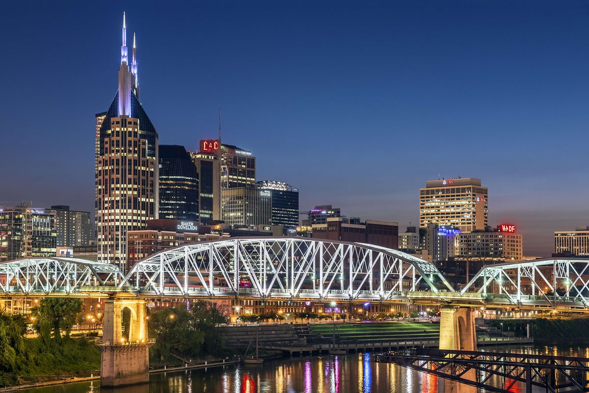 Pedestrian bridge over the Cumberland river and the lights...