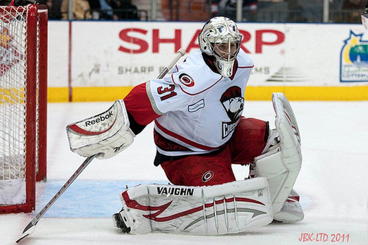 Charlotte Checkers goaltender Mike Murphy is sharp in net in an AHL playoff game against the Wilkes-Barre/Scranton Penguins on May 4, 2011 (authors photo).