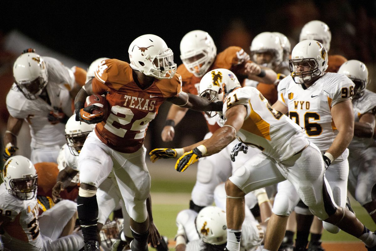 Joe Beast gave Wyoming safeties and Texas fans a stiffy.  (Photo by Cooper Neill/Getty Images)