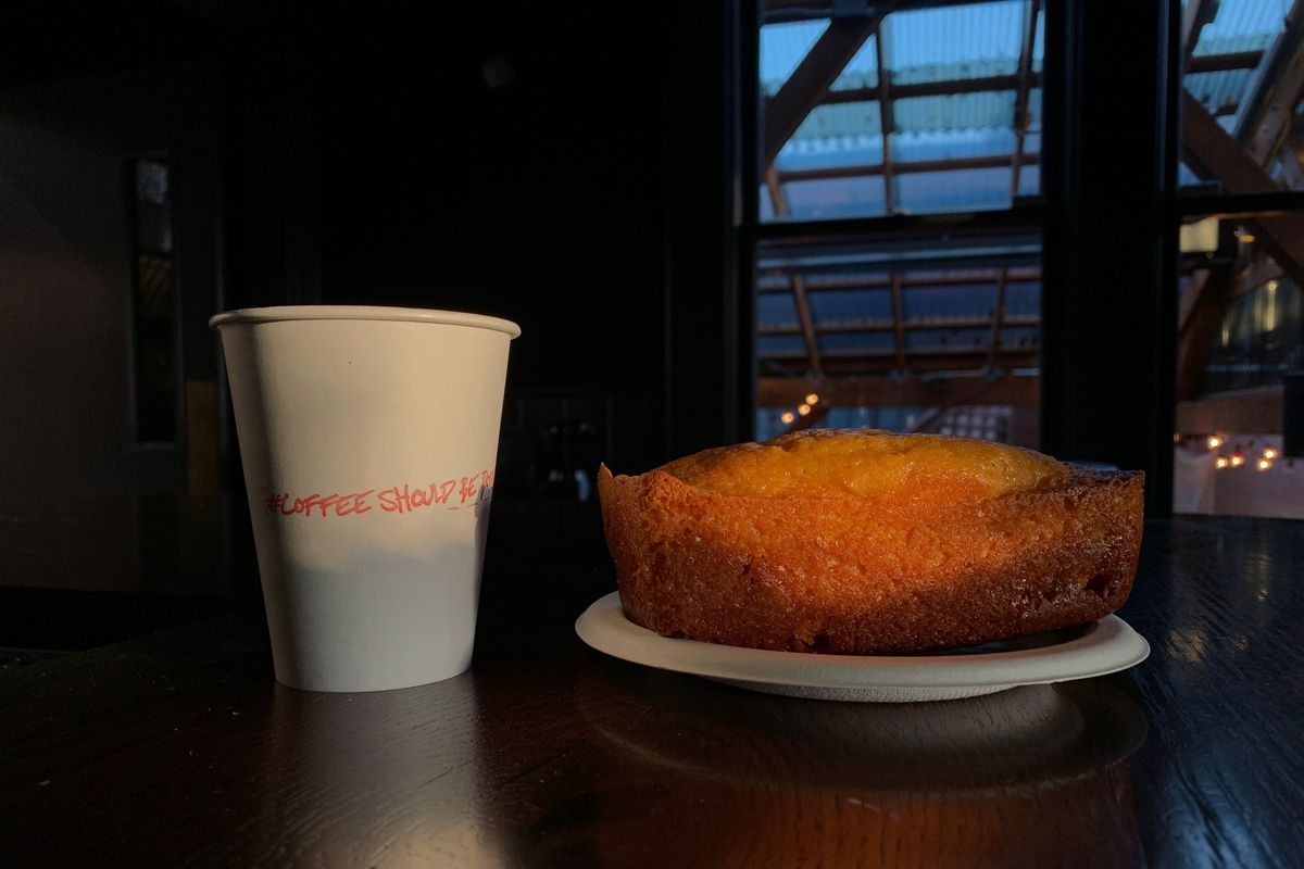 A cup of coffee and a butterscotch cake at Psychic Bar.