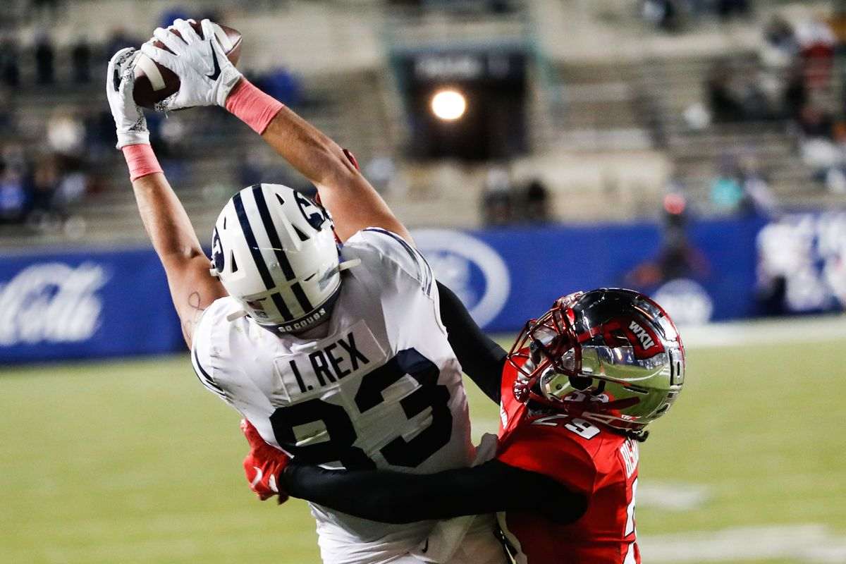 BYU Cougars tight end Isaac Rex (83) catches the a touchdown pass during a game at LaVell Edwards Stadium in Provo in 2020.