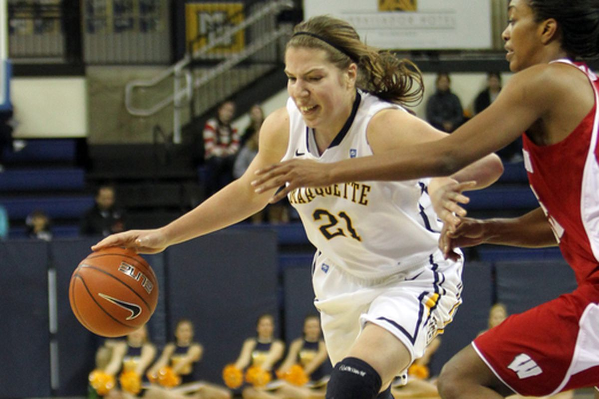 Katherine Plouffe had 14 points and nine rebounds in her return to action against Villanova.