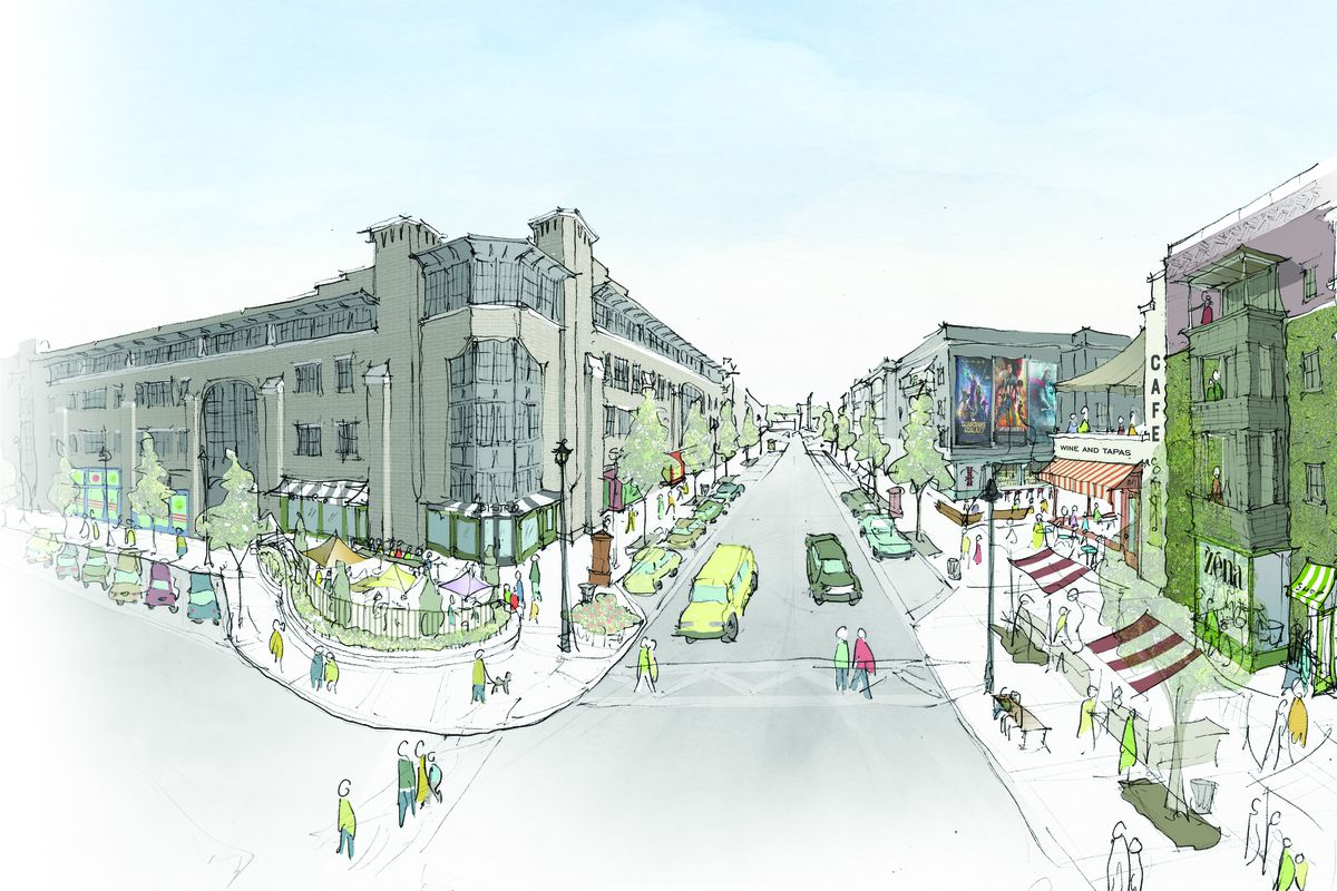A hand rendering with four-story commercial building and multi-family structures along a pedestrian street.
