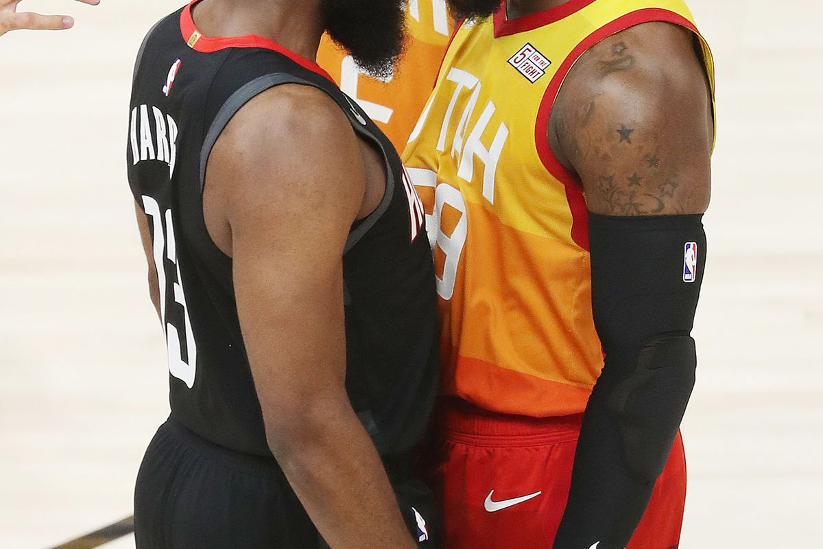 Utah Jazz forward Jae Crowder (99) and Houston Rockets guard James Harden (13) square off during the NBA playoffs in Salt Lake City on Saturday, April 20, 2019.