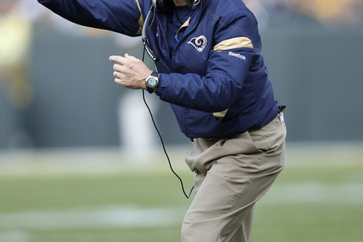 GREEN BAY, WI - OCTOBER 16: St. Louis Rams head coach Steve Spagnuolo looks on against the Green Bay Packers during the first half at Lambeau Field on October 16, 2011 in Green Bay, Wisconsin. (Photo by Joe Robbins/Getty Images)