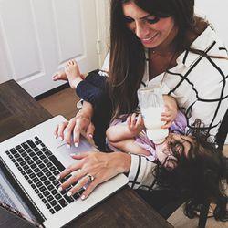 Corrine Stokoe is shown balancing work and mom life.