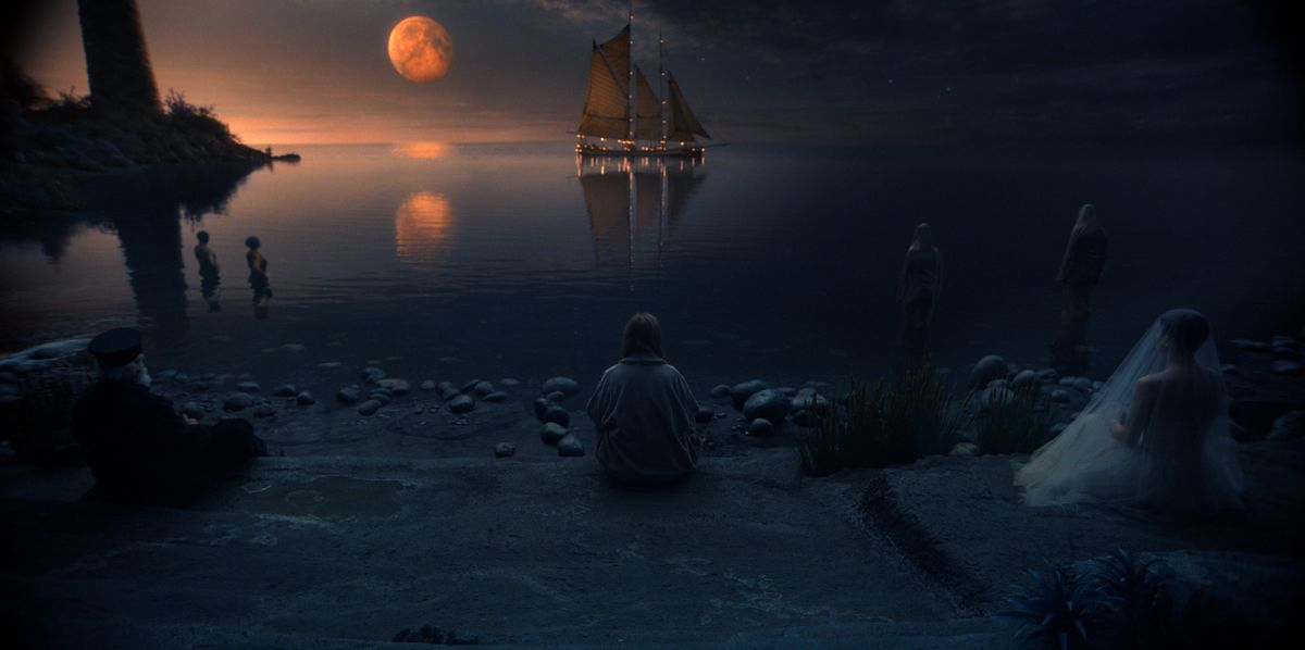 An eerie prospect of a magical realm in Lisey's story, with a blood moon, a distant ship on the horizon and a jumbled rocky beach