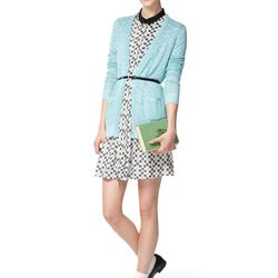 Look 6: Long-Sleeved Pointelle Sweater in Belize Blue, $39.99 Also Available in Red Dot-Printed Shirt Dress in Cream, $39.99