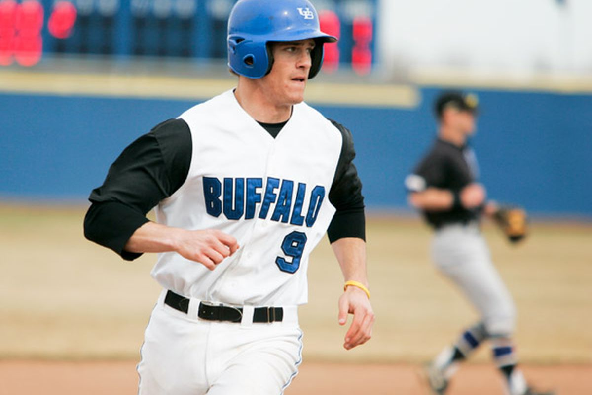 """Alex Baldock's walk off RBI came when he drove a 1-0 pitch over the heads of the Ohio outfielders in right center via <a href=""""http://www.buffalobulls.com/sports/bsb/2011-12/releases/20120524sa5i4m"""">cdn204.psbin.com</a>"""