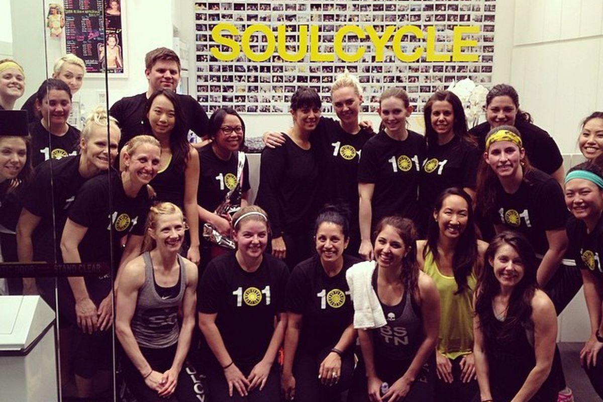 "SoulCycle Palo's first graduating class of Soul 101; photo via Noelle Matthews/<a href=""http://instagram.com/noellematthews"">Instagram</a>"