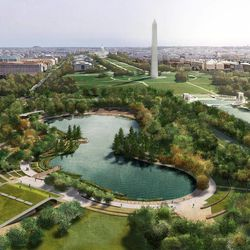 This undated artist's rendering provided by Nelson Byrd Woltz Landscape Architect & Paul Murdoch Architects, shows a proposed design for Constitution Gardens, one of three overused and neglected areas of the National Mall in Washington, which architects and designers have been competing for the chance to renew.