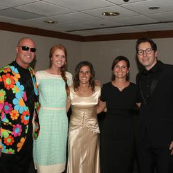 Former BYU quarterback Jim McMahon, far left, was one of five former All-Americans who were enshrined into the BYU Athletic Hall of Fame Thursday. Others included, from left, Aleisha Cramer Rose (soccer), Kelly Parkinson Evanson (gymnastics), Tara Rohatinsky Northcutt (cross-country/track) and Dmitri Malinovski (swimming).