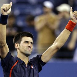 Novak Djokovic, of Serbia, reacts after defeating Juan Martin del Potro, of Argentina, in a quarterfinals match at the U.S. Open tennis tournament, Thursday, Sept. 6, 2012, in New York. Djokovic won 6-2, 7-6 (3), 6-4.