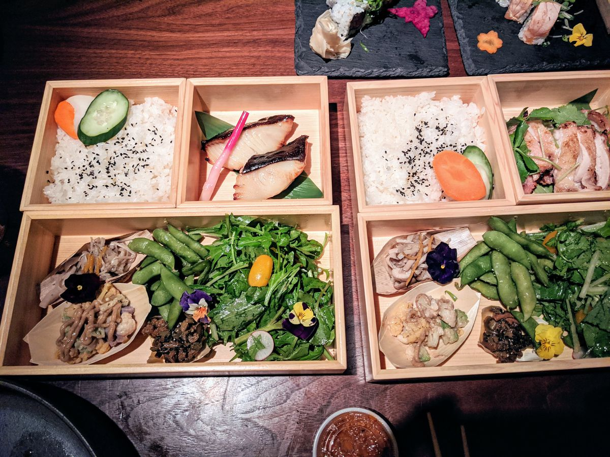 Chateau Hanare's new bento boxes for delivery and takeout.