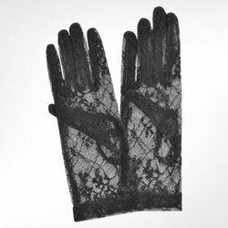 Forzieri Italia, black flowered lace gloves, $75, forzieri.com