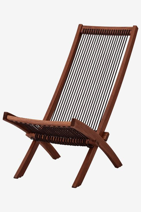 Folded chair with wood frame and rope.