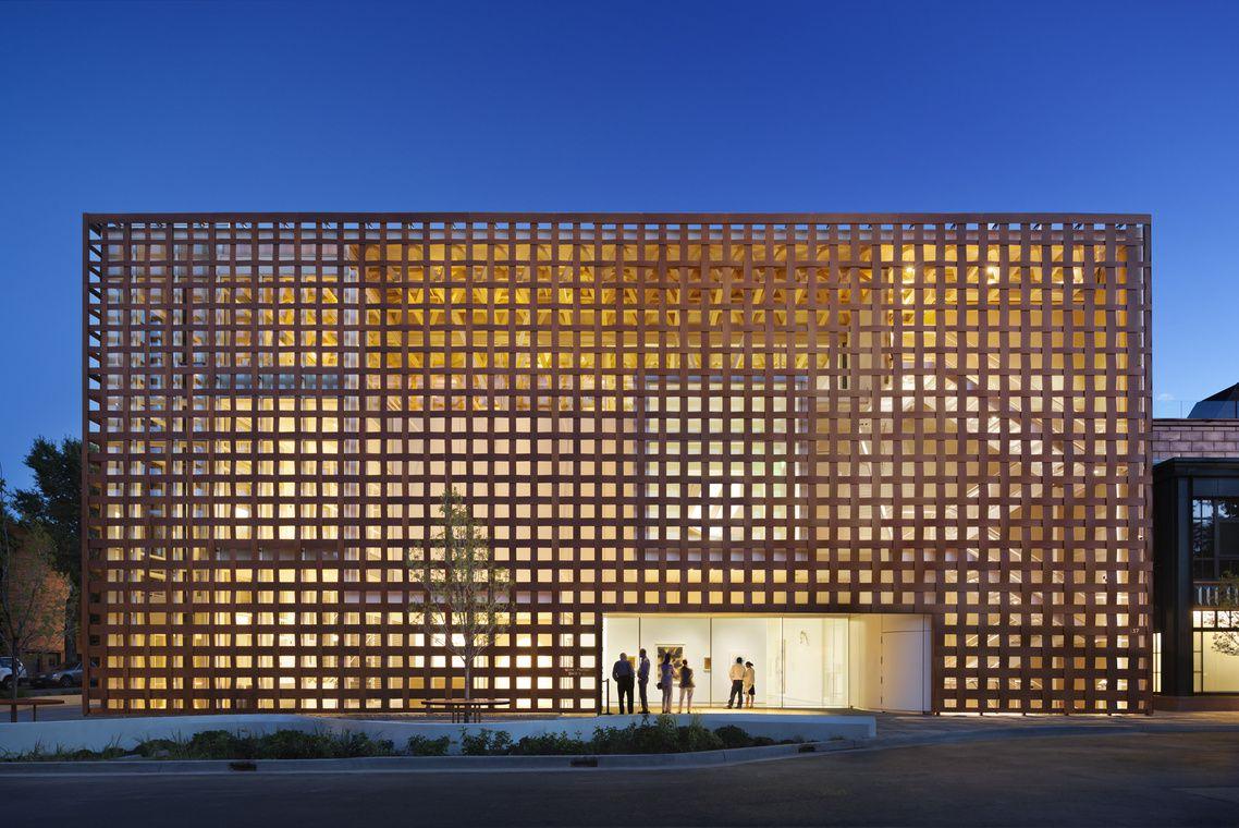 The exterior of the Aspen Art Museum. The facade is a lattice design.