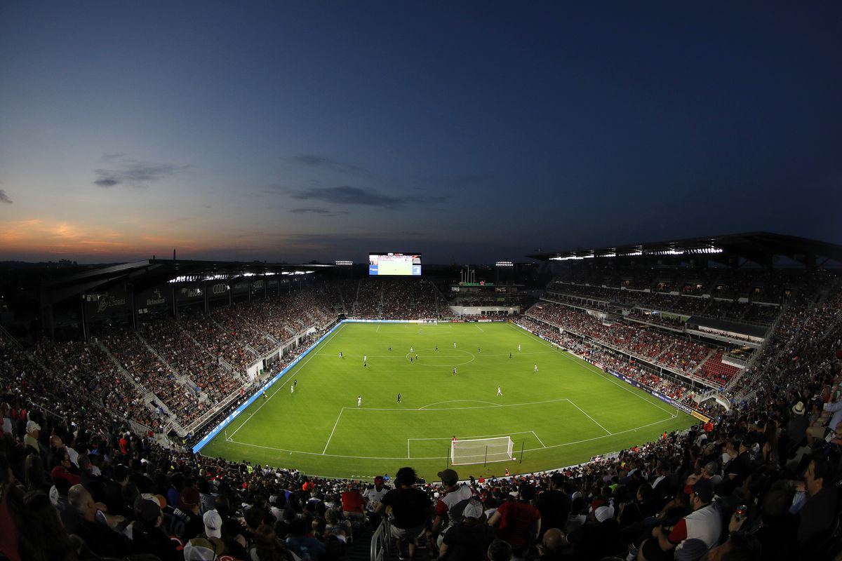 A general view in the first half between the Vancouver Whitecaps and D.C. United at Audi Field on July 14, 2018 in Washington, DC.