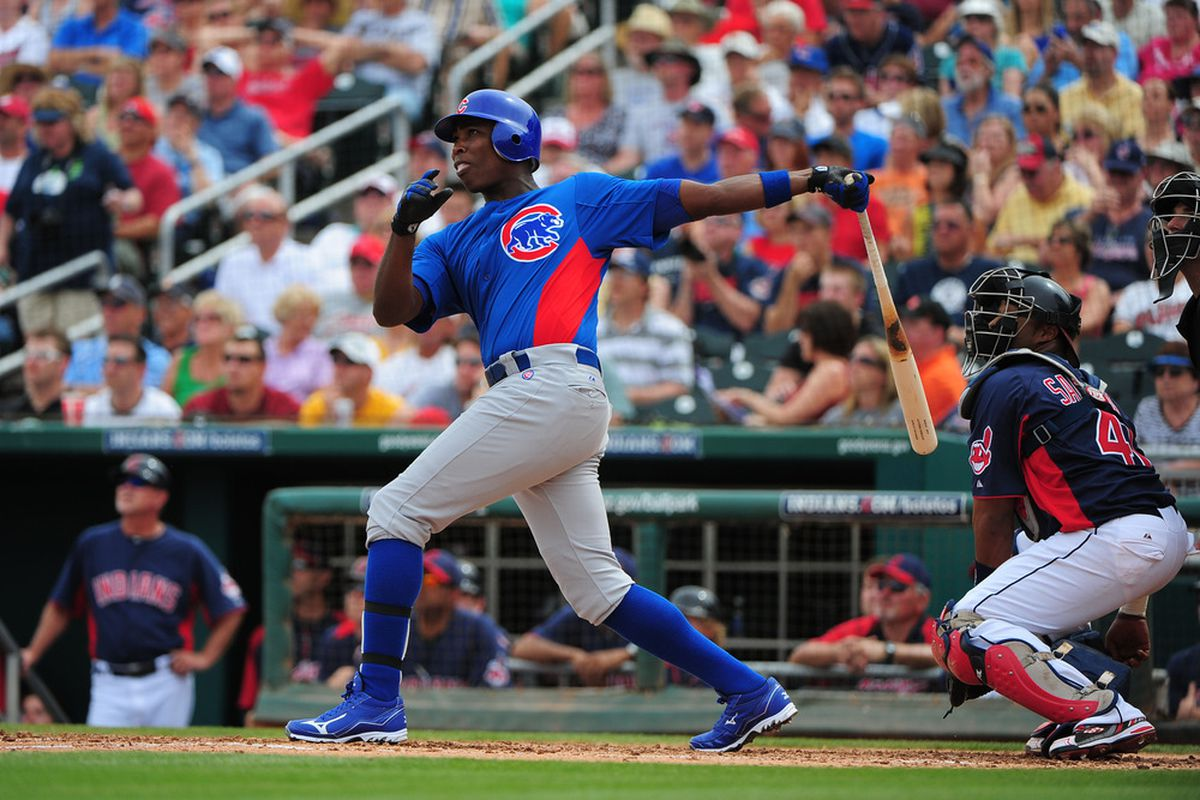 Goodyear, AZ, USA; Chicago Cubs designated hitter Alfonso Soriano hits a sacrifice fly to score right fielder Reed Johnson during the third inning against the Cleveland Indians at Goodyear Ballpark. Credit: Kyle Terada-US PRESSWIRE