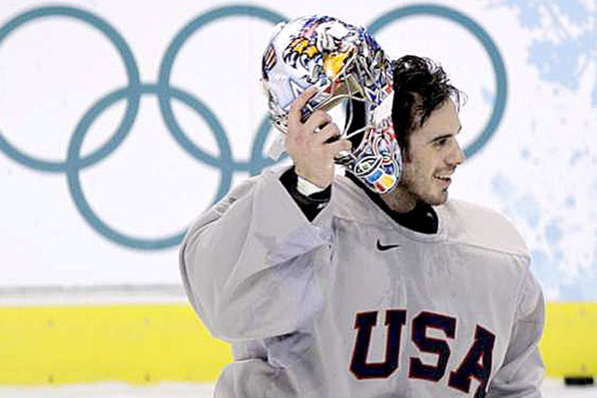 Ryan Miller, seen here in practice jersey, is practicing the smile he'll have when the US team wins gold.