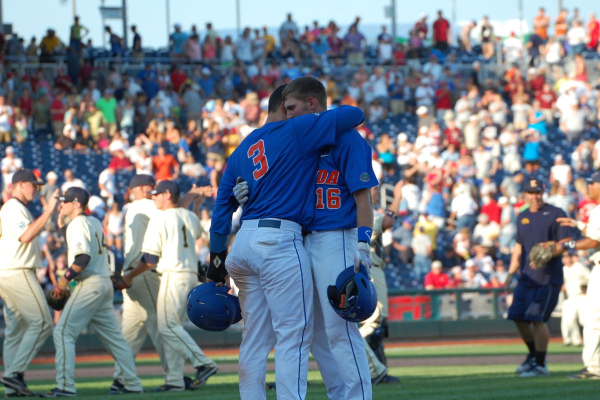 """Mike Zunino hugs Justin Shafer after Shafer's game-ending &mdash; and season-ending &mdash; flyout. (<a href=""""http://www.flickr.com/photos/mindahaas/"""" target=""""new"""">Minda Haas</a>)"""