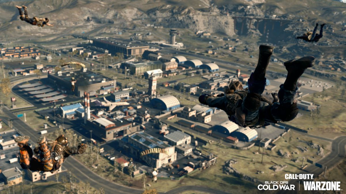 Players skydive onto Call of Duty: Warzone's Verdansk '84 map