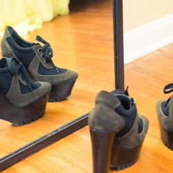"""<a href=""""http://www.thecoveteur.com/aimee_song""""target=_blank"""">Aimee Song</a>'s Burberry booties."""