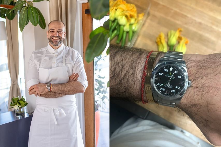 Vartan Abgaryan at Yours Truly, Venice with inset of Rolex watch