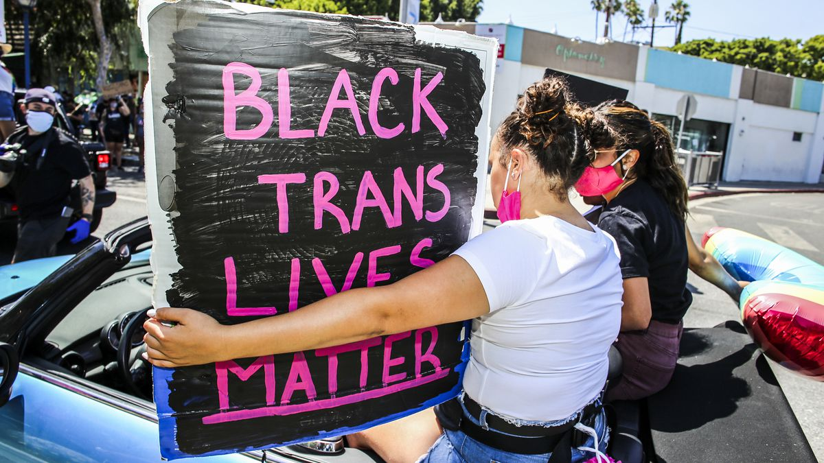 """A protester carrying a sign reading """"Black trans lives matter."""""""