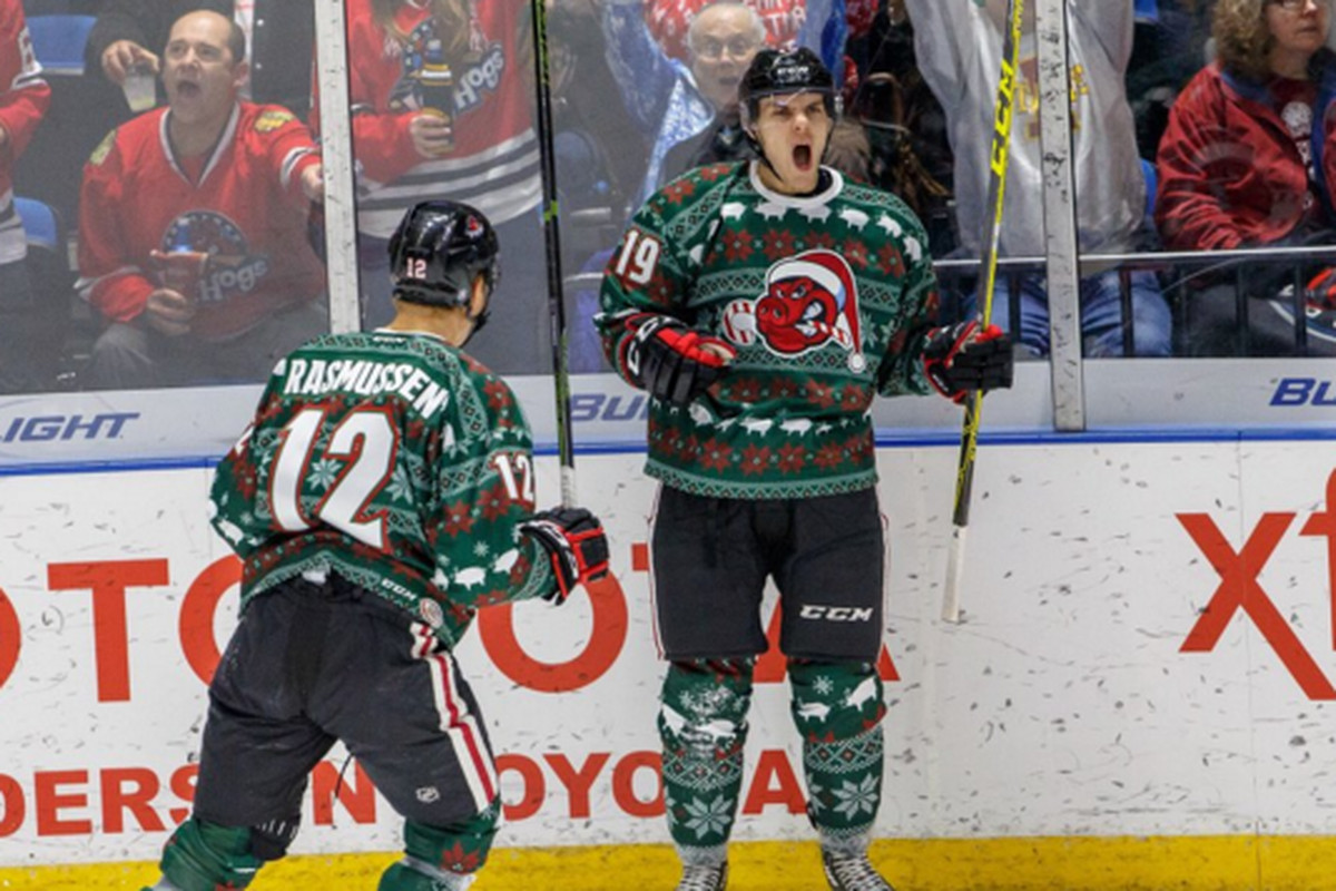Rockford IceHogs wear incredible ugly Christmas sweater jerseys ... b38a121b2