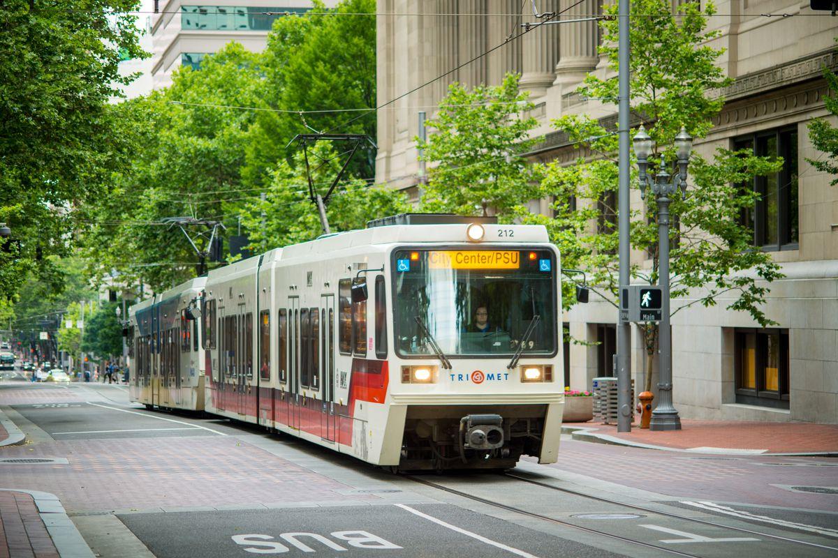 City bus in Portland, Oregon, USA