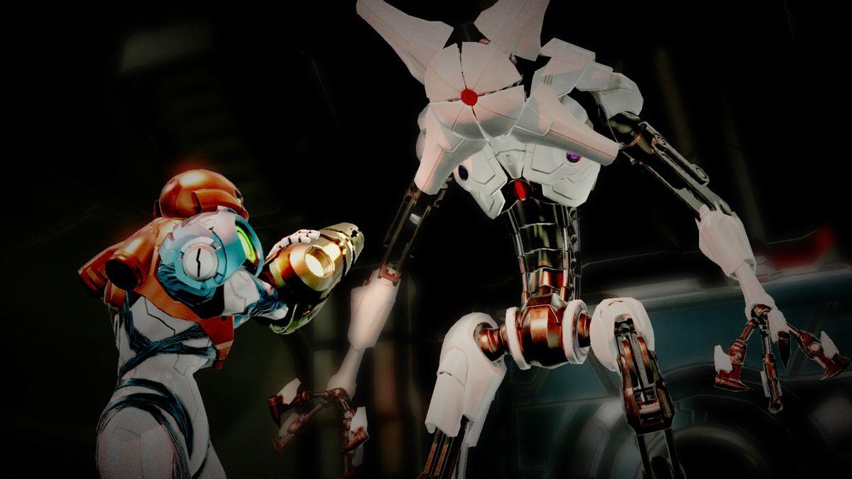 Samus Aran takes aim at an EMMI in Metroid Dread