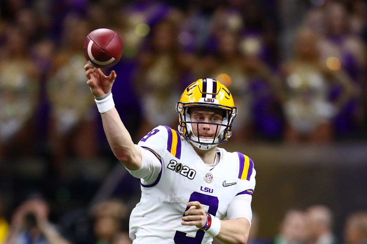 LSU Tigers quarterback Joe Burrow thorws in the pocket against the Clemson Tigers in the College Football Playoff national championship game at Mercedes-Benz Superdome.