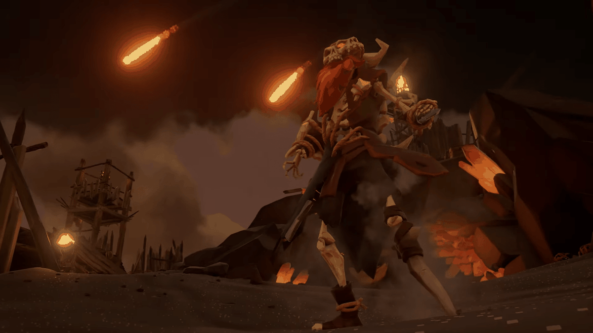 Sea of Thieves - a skeleton captain menaces the player from the shore of an island in the Devil's Roar