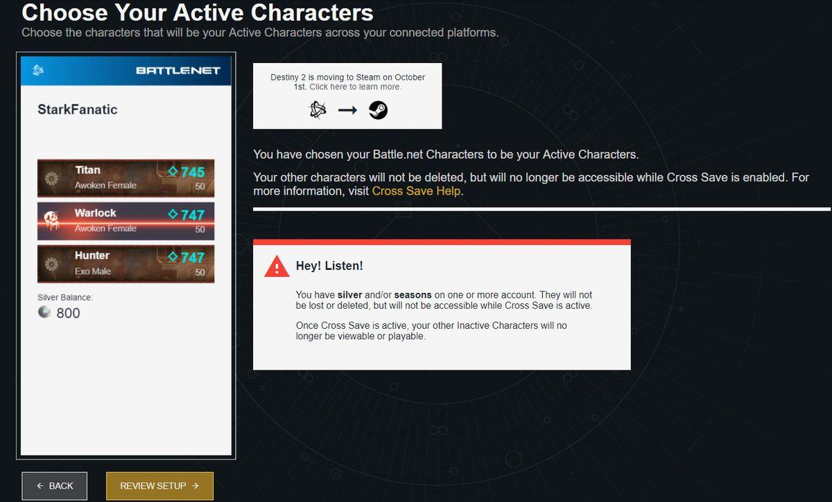 Destiny 2 cross-save setup, warnings