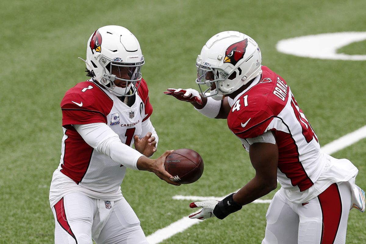 Kyler Murray and Kenyan Drake of the Arizona Cardinals in action against the New York Jets at MetLife Stadium on October 11, 2020 in East Rutherford, New Jersey. The Cardinals defeated the Jets 30-10.