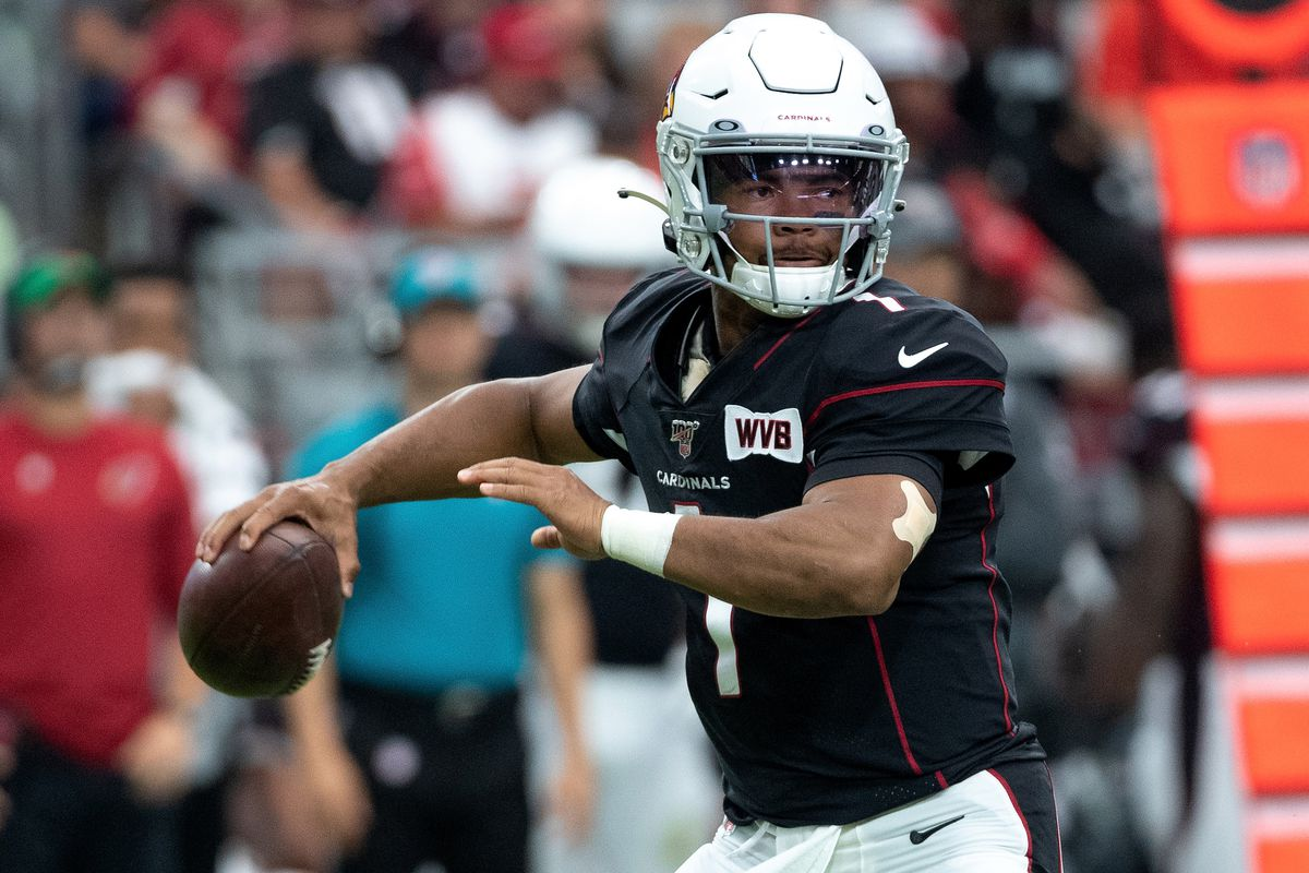 Kyler Murray of the Arizona Cardinals makes a pass in the NFL game against the Atlanta Falcons at State Farm Stadium on October 13, 2019 in Glendale, Arizona.