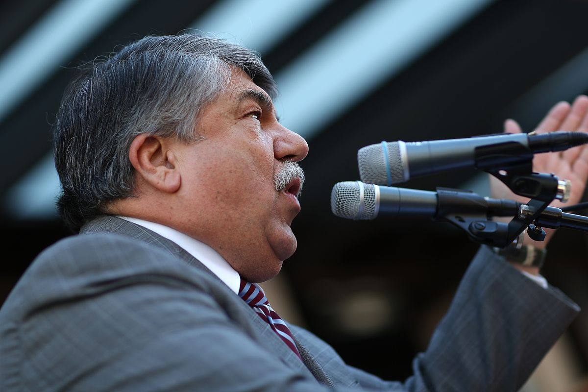 """AFL-CIO President Richard Trumka speaks to protesters prior to a """"Don't Trade Our Future"""" march organized by the group Campaign for America's Future April 20, 2015, in Washington, DC."""