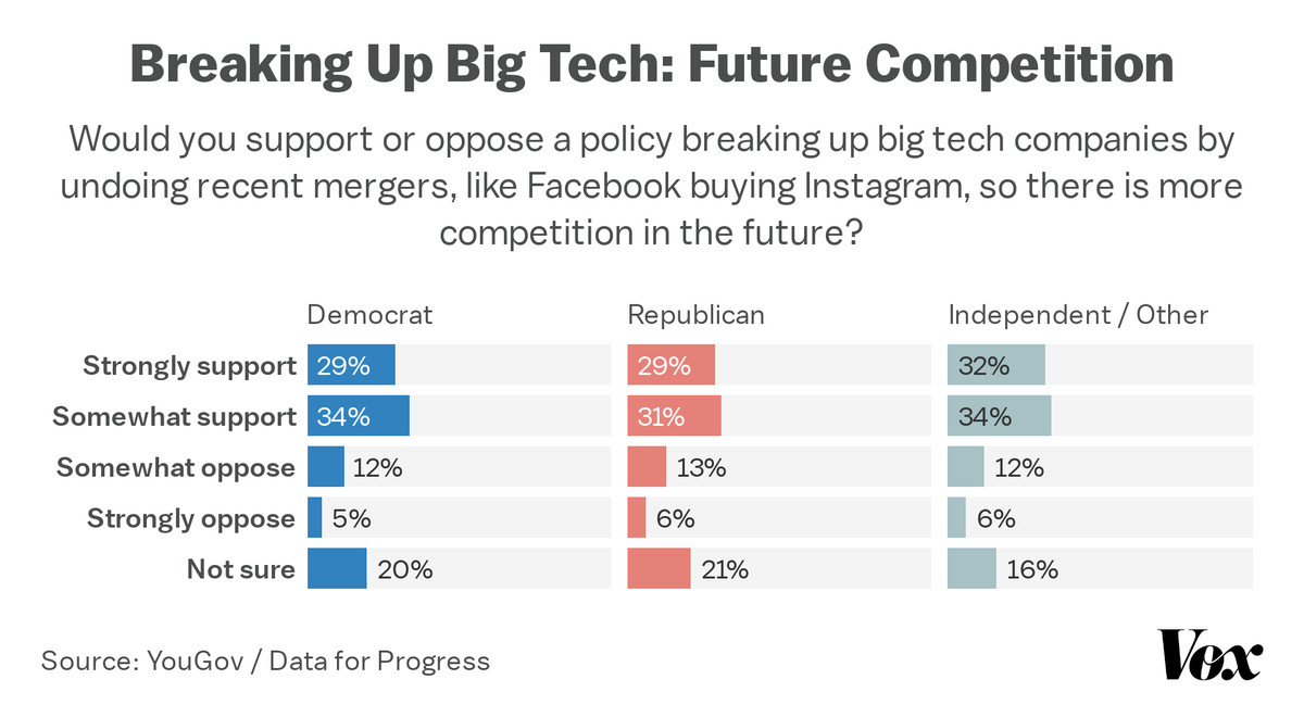 A chart showing support by party identification for breaking up big tech.